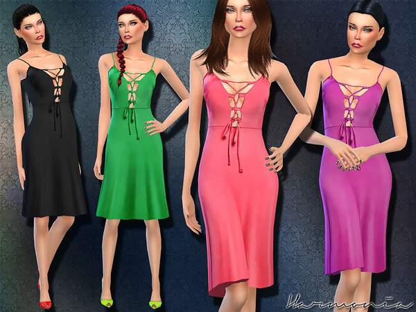 Sims 4 Day to Night Look Lace up Dress by Harmonia at TSR