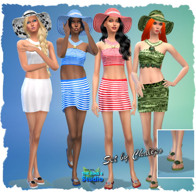 Dresses, hat and flip flops by Chalipo at All 4 Sims image 12218 Sims 4 Updates