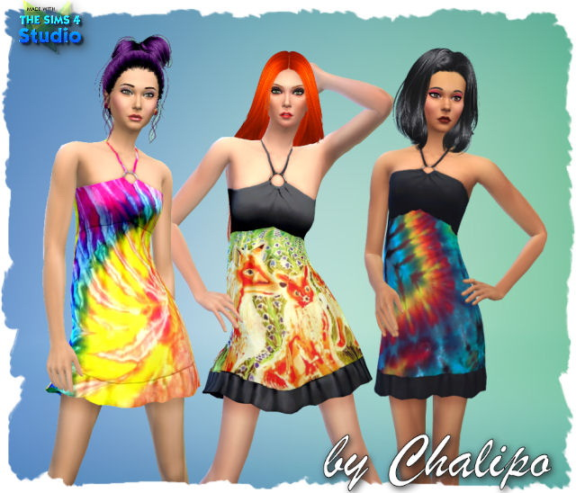 Sims 4 Dresses, hat and flip flops by Chalipo at All 4 Sims