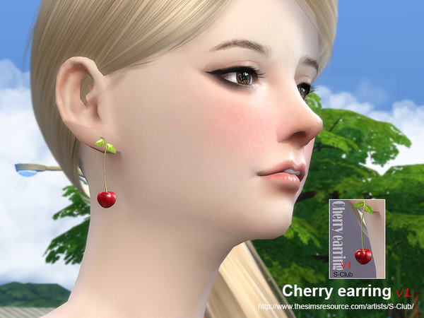 Cherry earring by S Club MW at TSR image 13107 Sims 4 Updates