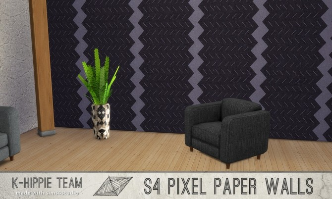 Sims 4 7 Walls Pixel Paper serie vol 1 at K hippie