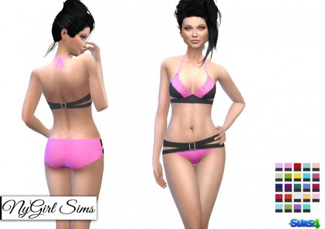 Sims 4 Color Block Belted Bikini at NyGirl Sims