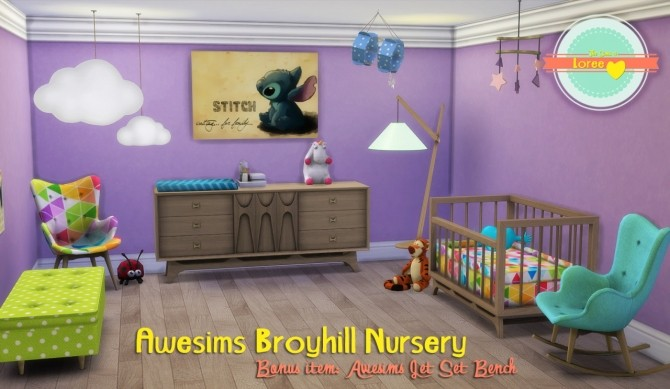 Sims 4 Awesims Broyhill Nursery + Jet Set Bench at Loree