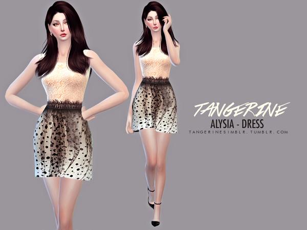 Sims 4 Alysia Dress by tangerinesimblr at TSR