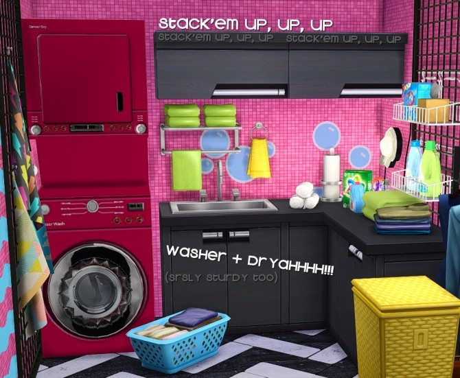 Sims 4 Sturdy Stacked Washer + Dryer at Grilled Cheese Aspiration