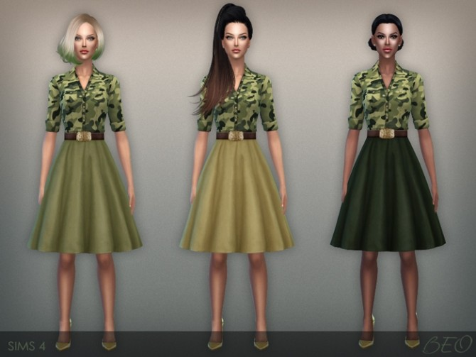 Sims 4 Button shirt and fluffy skirt dress at BEO Creations