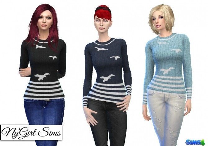 Sims 4 Vintage Nautical Striped Seagull Sweater at NyGirl Sims