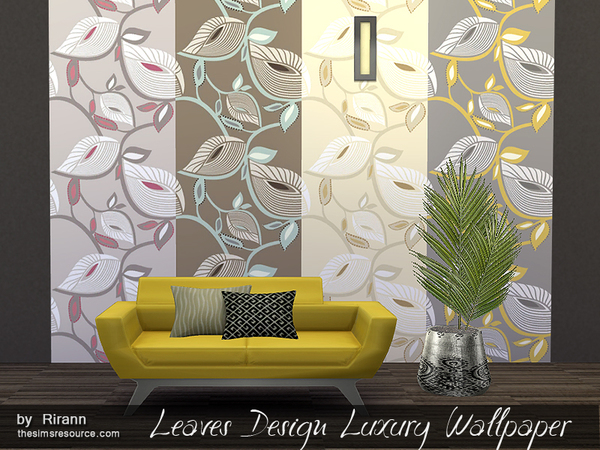 Sims 4 Leaves Design Luxury Wallpaper by Rirann at TSR