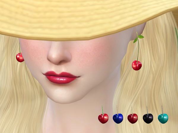 Cherry earring by S Club MW at TSR image 14106 Sims 4 Updates