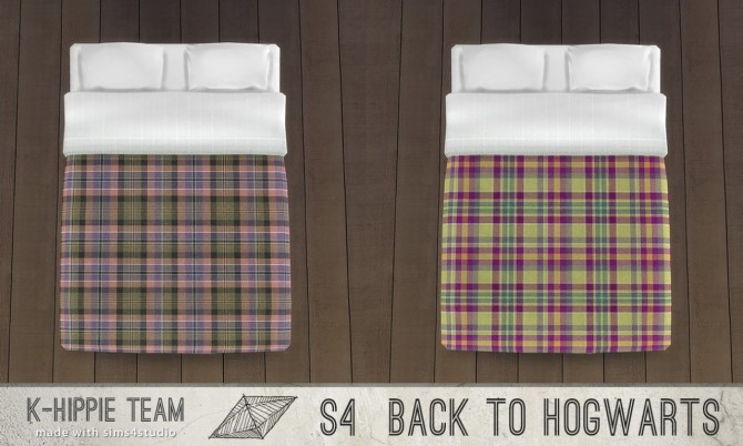 Sims 4 Back to Hogwarts 7 Scottish Beddings vol 2 and 1 Expecto Bedframe at K hippie