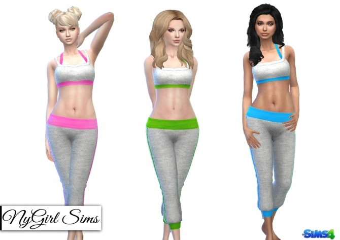Sims 4 Sport Knit Cropped Sweatpant and Tank Top at NyGirl Sims