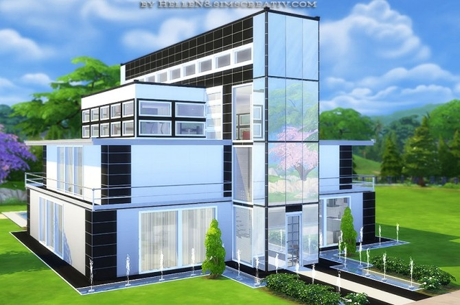 Modern design 3 house by hellen at sims creativ sims 4 for Sims 4 modern house plans