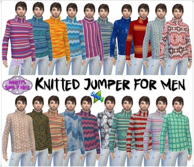 20 Knitted Jumper for males at Annett's Sims 4 Welt image 1658 Sims 4 Updates