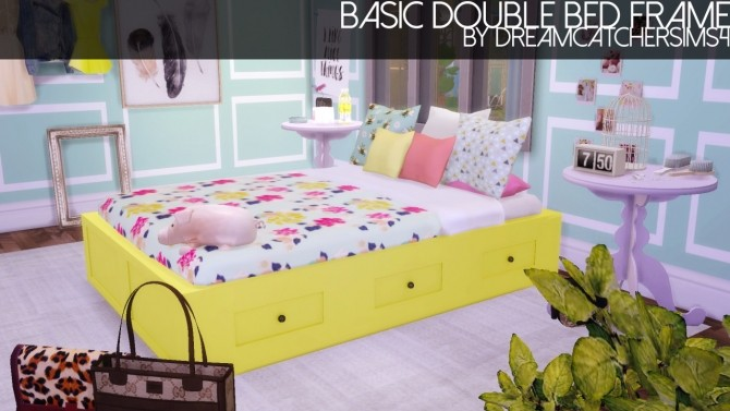 Sims 4 Basic Double Bed Mesh Frame Only at DreamCatcherSims4