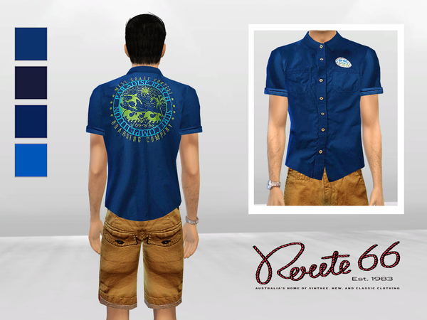 Sims 4 Big Wave Cuffed Polo by McLayneSims at TSR