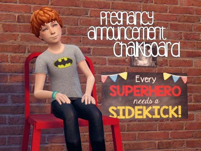 Sims 4 Pregnancy announcement chalkboard at Akai Sims