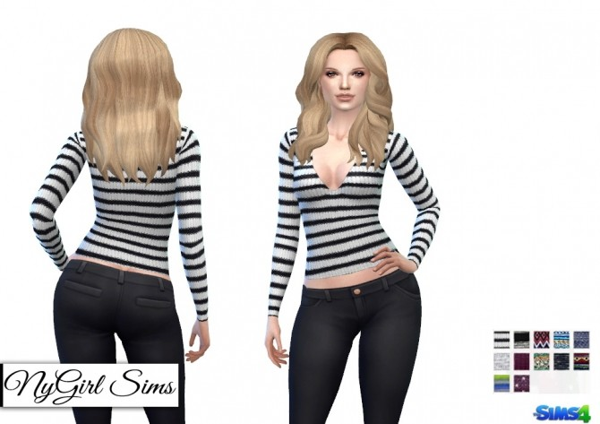 Sims 4 Deep V Knitted Prints Sweater at NyGirl Sims