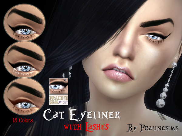 Sims 4 Cat Eyeliner with Lashes by Pralinesims at TSR