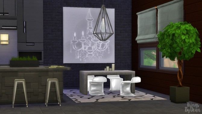 Sims 4 Dining set (Chandelier Painting, Concrete Table, Ghost Chairs) at THINGSBYDEAN