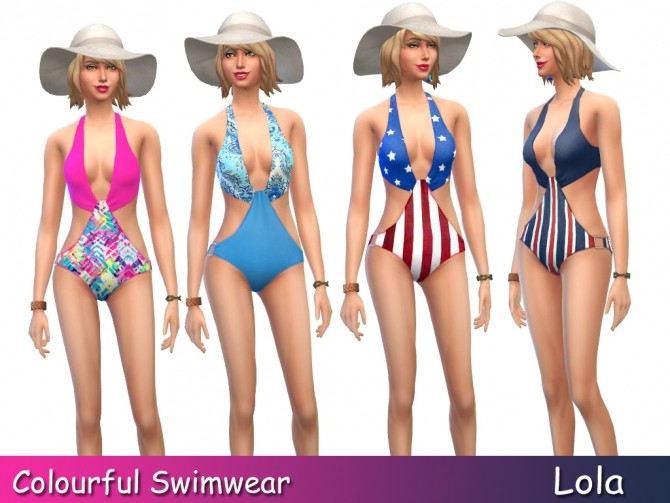 Sims 4 Colourful Swimsuits by Lola at Sims and Just Stuff