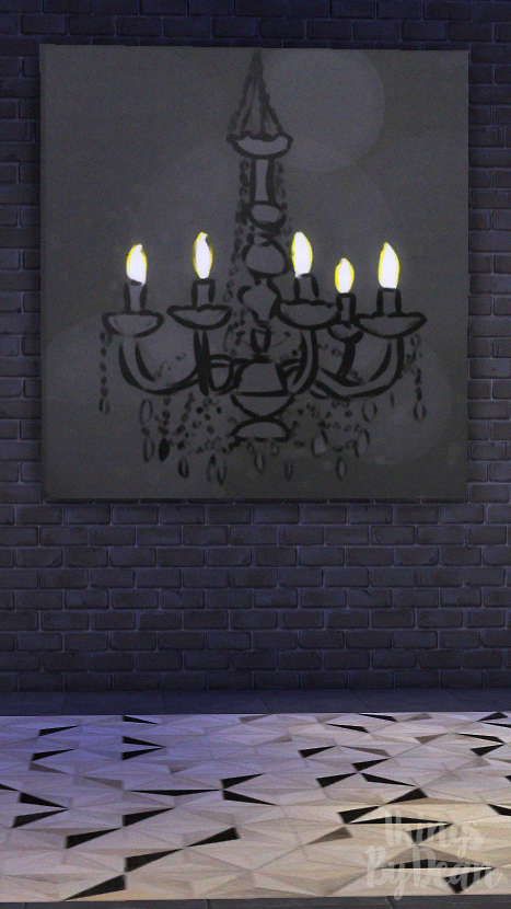 Dining Set Chandelier Painting Concrete Table Ghost