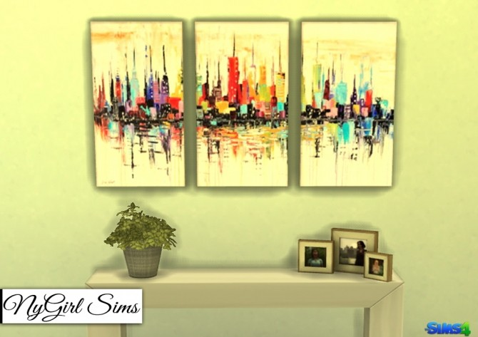 Cityscapes 3 Piece Canvas Art at NyGirl Sims image 18710 670x473 Sims 4 Updates