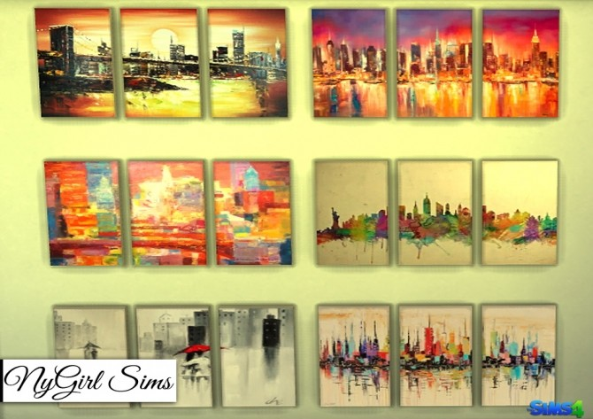 Cityscapes 3 Piece Canvas Art at NyGirl Sims image 1886 670x473 Sims 4 Updates