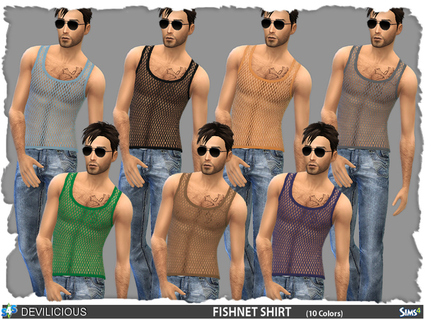 Sims 4 Fishnet Shirt (10 colors) by Devilicious at TSR