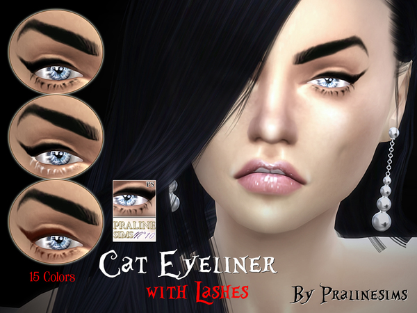 Cat Eyeliner with Lashes by Pralinesims at TSR image 1928 Sims 4 Updates