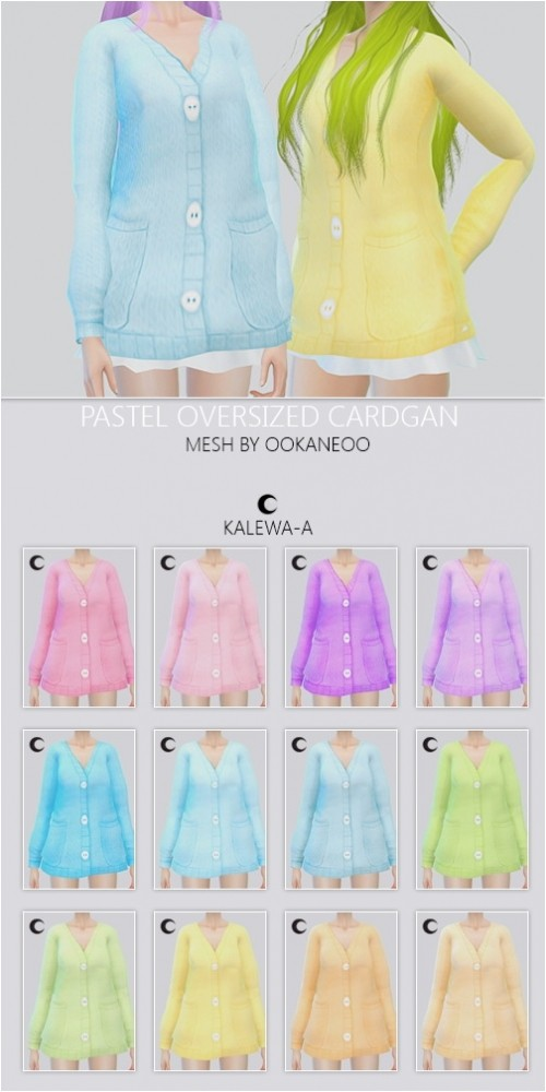 Sims 4 Pastel Over sized Cardigan at Kalewa a