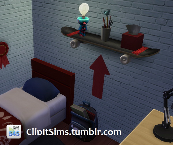 Functional skateboard shelf at Clipit Sims image 1937 Sims 4 Updates