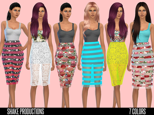 Sims 4 Designer dress with transparent skirt by ShakeProductions at TSR