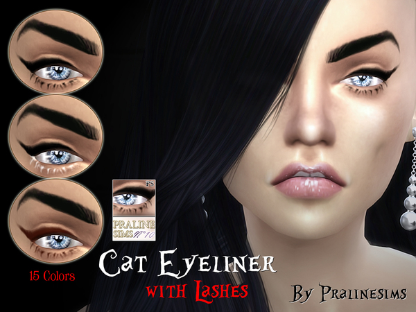 Cat Eyeliner with Lashes by Pralinesims at TSR image 2023 Sims 4 Updates