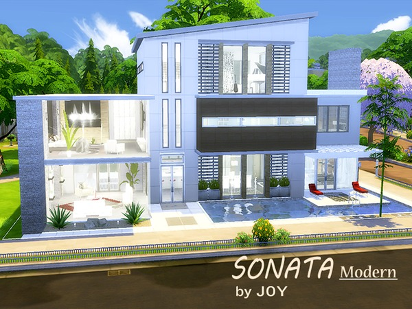 Sonata modern house by joy at tsr sims 4 updates for Small house design sims 4