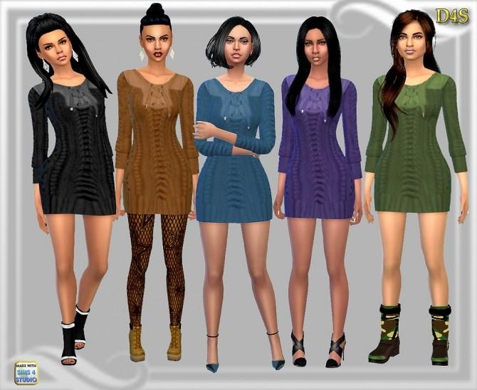 Sims 4 Fall Short Sweater Dress at Dreaming 4 Sims