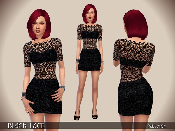 Black Lace dress by Paogae at TSR image 209 Sims 4 Updates