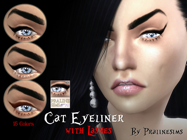 Cat Eyeliner with Lashes by Pralinesims at TSR image 2120 Sims 4 Updates
