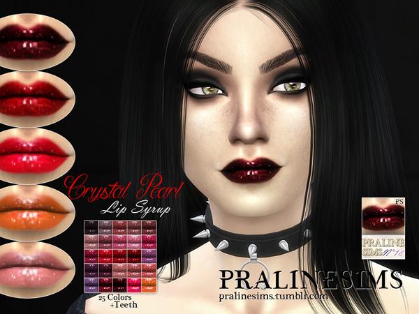 Sims 4 Crystal Pearl Lip Syrup +Teeth by Pralinesims at TSR