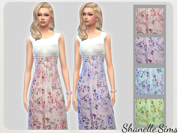 Sims 4 Floral Maxi dress by shanelle.sims at TSR