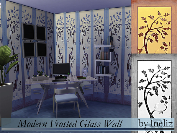 Sims 4 Modern Frosted Glass Wall by Ineliz at TSR
