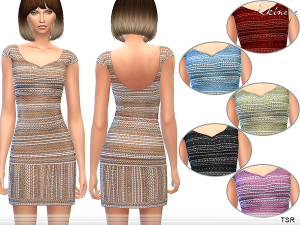 Sims 4 Sequin Embellished Mini Dress by Harmonia at TSR