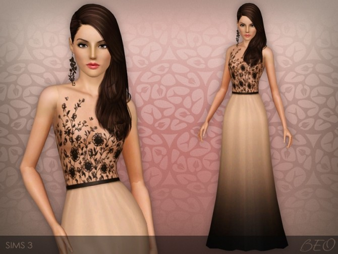Sims 4 Embroidered transparent top dress at BEO Creations