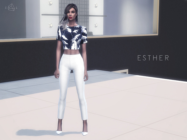 Sims 4 Palm Print Cropped Top ESTHER by starlord at TSR