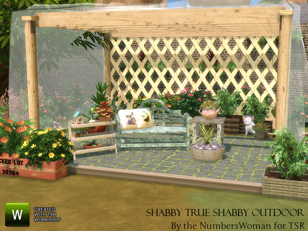 Shabby chic living true shabby outdoor by thenumberswoman for Indoor gardening sims 4