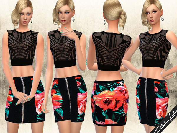 Printed Mini Skirt and Lace Top by Fritzie.Lein at TSR image 3124 Sims 4 Updates