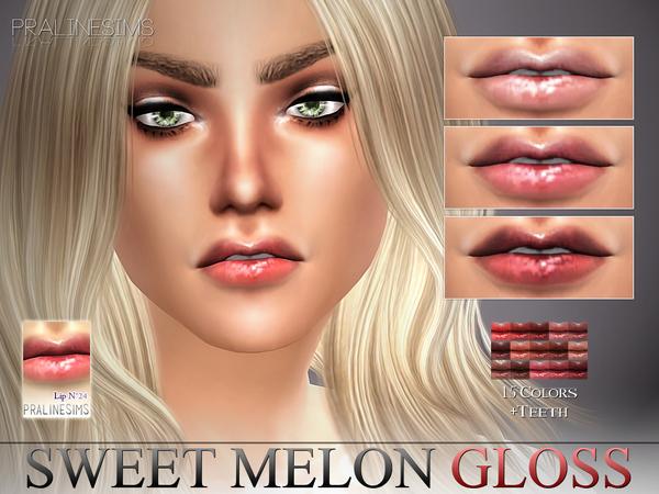 Sweet Melon Gloss N24 + Teeth by Pralinesims at TSR image 3128 Sims 4 Updates