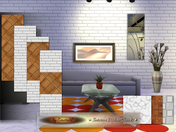 Sims 4 Interior White Bricks by emerald at TSR
