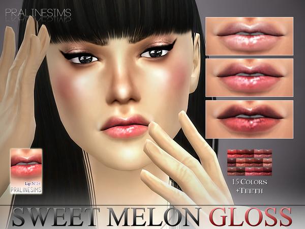 Sweet Melon Gloss N24 + Teeth by Pralinesims at TSR image 3223 Sims 4 Updates