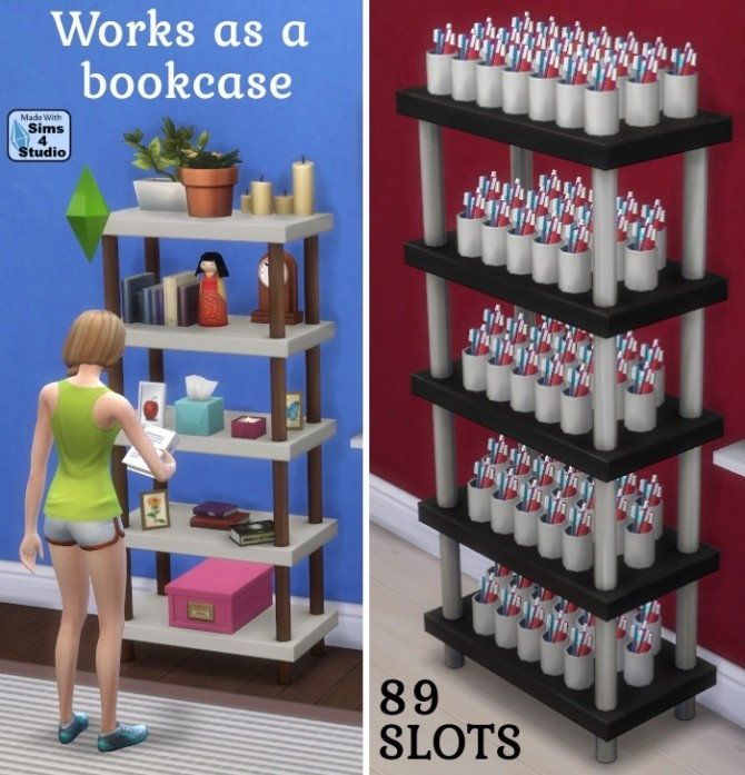 Sims 4 Single tile bibliophile bookcase by OM at Sims 4 Studio