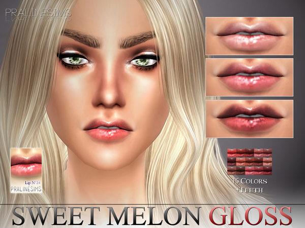Sweet Melon Gloss N24 + Teeth by Pralinesims at TSR image 3323 Sims 4 Updates